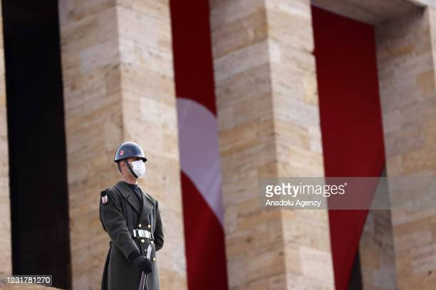 Soldier is seen during Ankara Governor Vasip Sahin's visit to Anitkabir, the mausoleum of the founder of Turkish Republic Mustafa Kemal Ataturk, on...