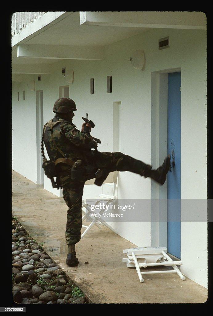 U.S. Soldier Kicking in Door  Stock Photo & Us Soldier Kicking In Door Stock Photo | Getty Images