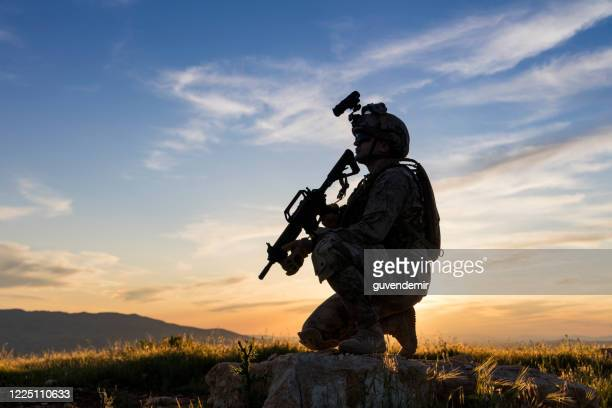 soldier knelt in the field looking ahead - terrorismo foto e immagini stock