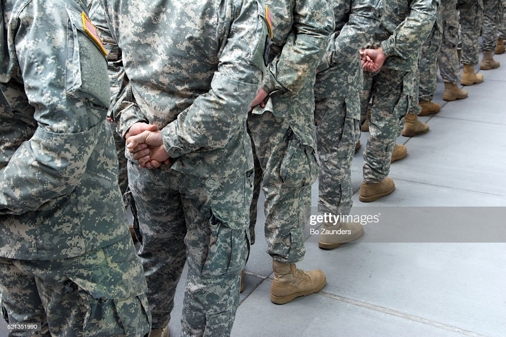 soldier lineup : Stock Photo