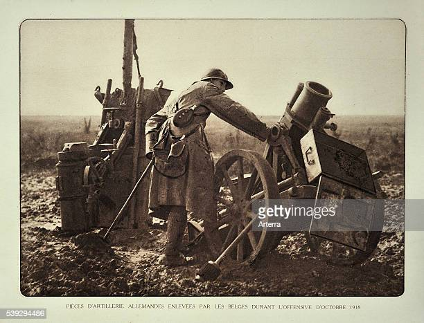 Soldier looking at German captured mortars / cannons at battlefield in Flanders during the First World War Belgium