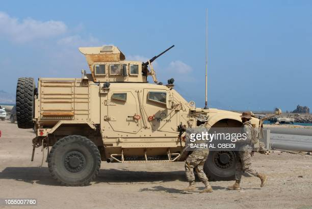 Soldier loyal to Saudiled coalition forces stand guard in the southern Yemeni port of Aden on October 29 2018 Saudi ambassador to Yemen arrives in...