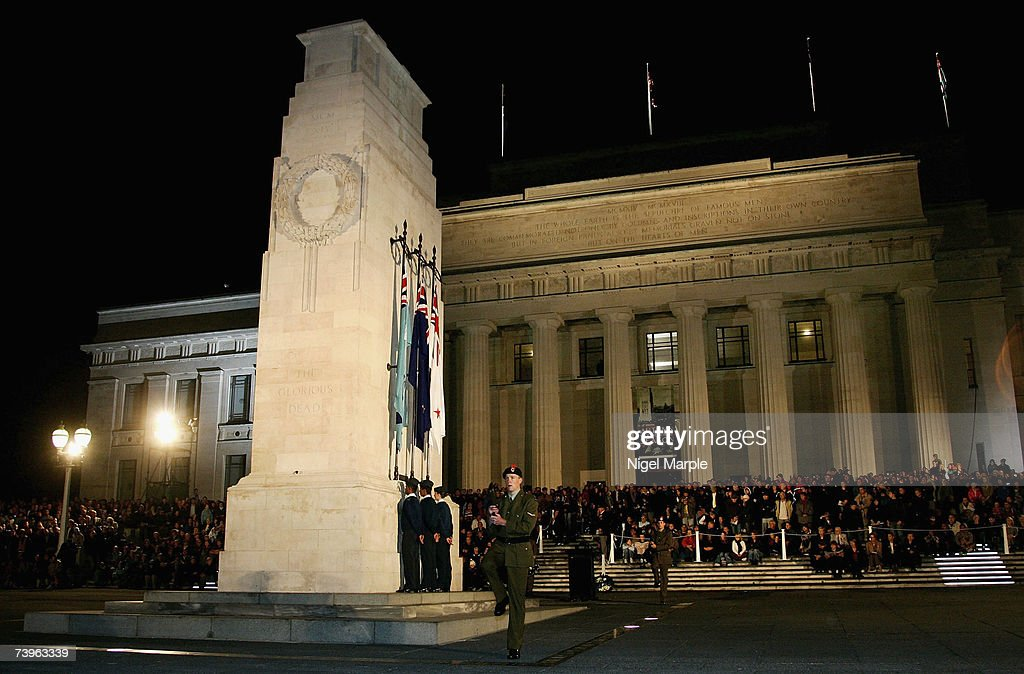 A soldier marches in front of the Cenotaph during a ANZAC