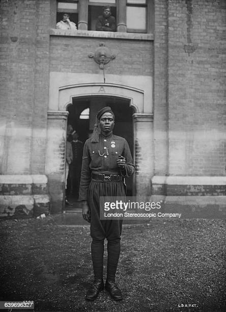 Soldier of a British colonial regiment at Chelsea Barracks in London, prior to Queen Victoria's Diamond Jubilee celebrations, June 1897.