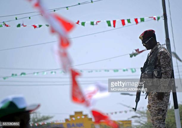A soldier of Somalia's breakaway territory of Somaliland stands guard during an Independence day celebration parade in the capital Hargeisa on May 18...