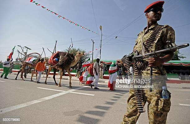 A soldier of the army of Somalia's breakaway territory of Somaliland stands guard during an Independence day celebration parade in the capital...