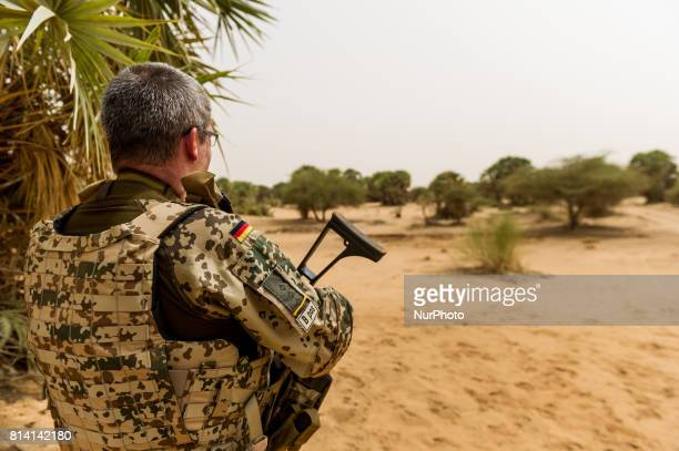 Soldier of the Bundeswehr, the German armed forces, watches the surroundings at Camp Castor in Gao, Mali, 19 May 2017. Members of the German armed...