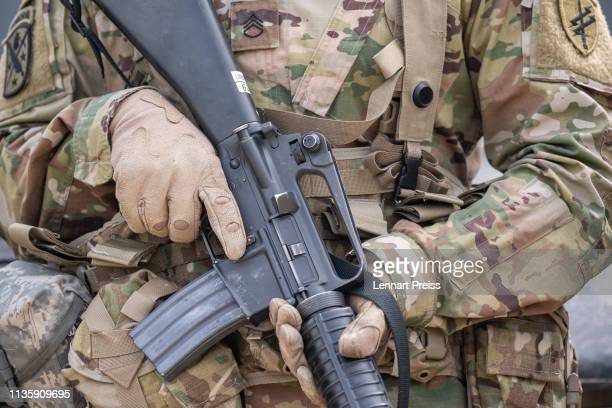 Soldier of the US Army holds his M16 rifle during the Allied Spirit X international military exercises at the U.S. 7th Army training center on April...