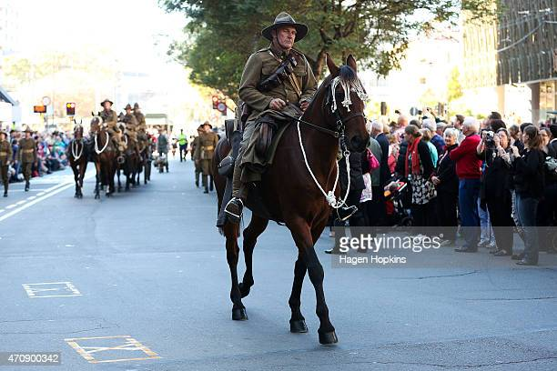 Soldier on horseback takes part in the Anzac Day eve street parade on April 24, 2015 in Wellington, New Zealand. The parade was organised to remember...