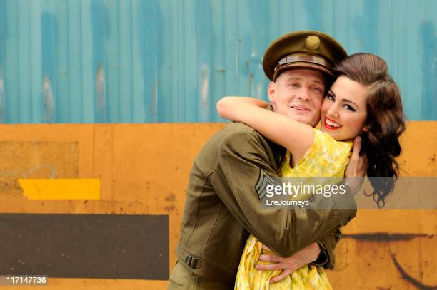 WWII Soldier On Leave And Embracing His Girl