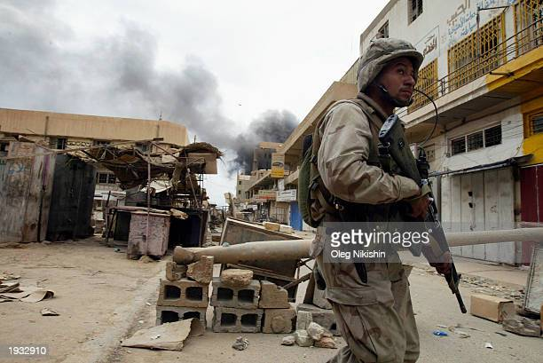 S soldier patrols April 15 2003 in Baghdad Iraq The US military presence has shifted to policing in an attempt to stabilize the crime in the capital...