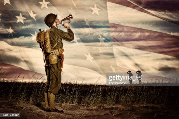 wwii soldier playing taps with flag horizon - memorial event stock pictures, royalty-free photos & images