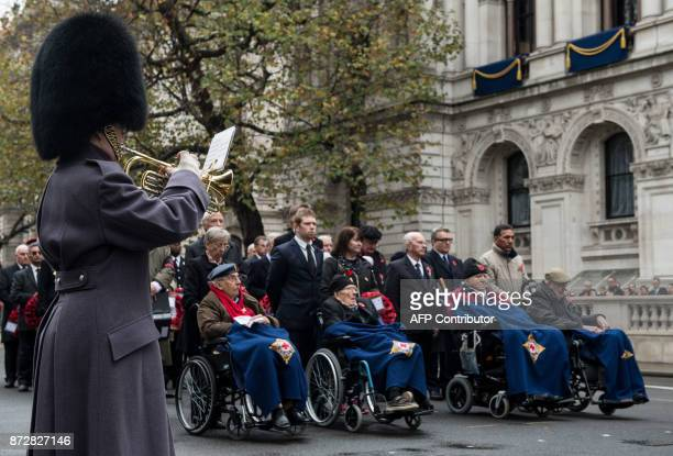 A soldier plays the 'Last Post' as veterans observe a twominute silence during the Western Front Association's annual service of remembrance on...