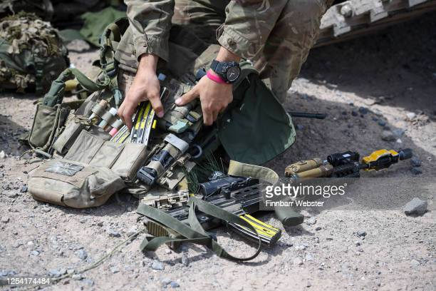 Soldier prepares his kit prior to a training exercise on Salisbury Plain Training Area on July 03, 2020 in Salisbury, England. 5 RIFLES Battlegroup...