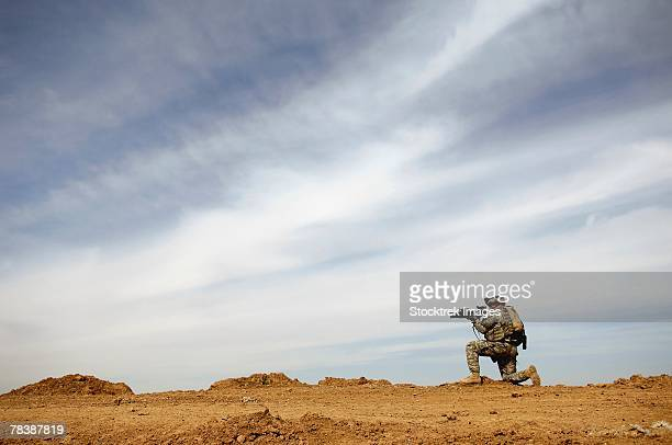 A soldier provides security.