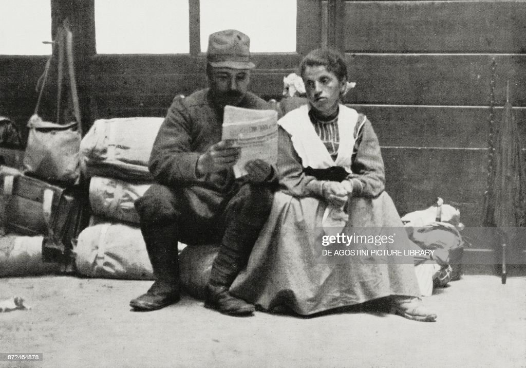 A soldier recalled reading to his wife the war bulletin before leaving for the war, World War I, photo by Morano-Pisculli from L'Illustrazione Italiana, Year XLII, No 23, June 6, 1915.
