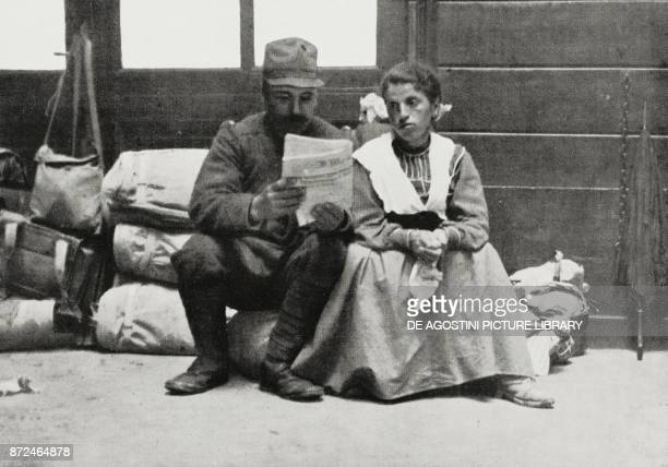 A soldier recalled reading to his wife the war bulletin before leaving for the war World War I photo by MoranoPisculli from L'Illustrazione Italiana...