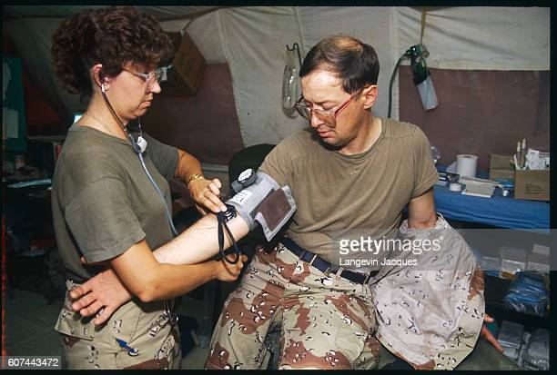 A soldier receives a medical exam at an American military hospital in Saudi Arabia during the Persian Gulf War In August of 1990 Iraqi president...