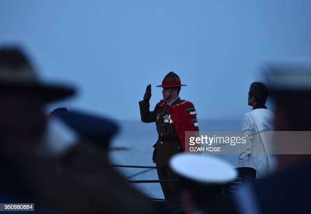 A soldier salutes during a dawn service marking the 103rd anniversary of ANZAC Day in Canakkale Turkey on April 25 2018 The April 25 1915 landing of...