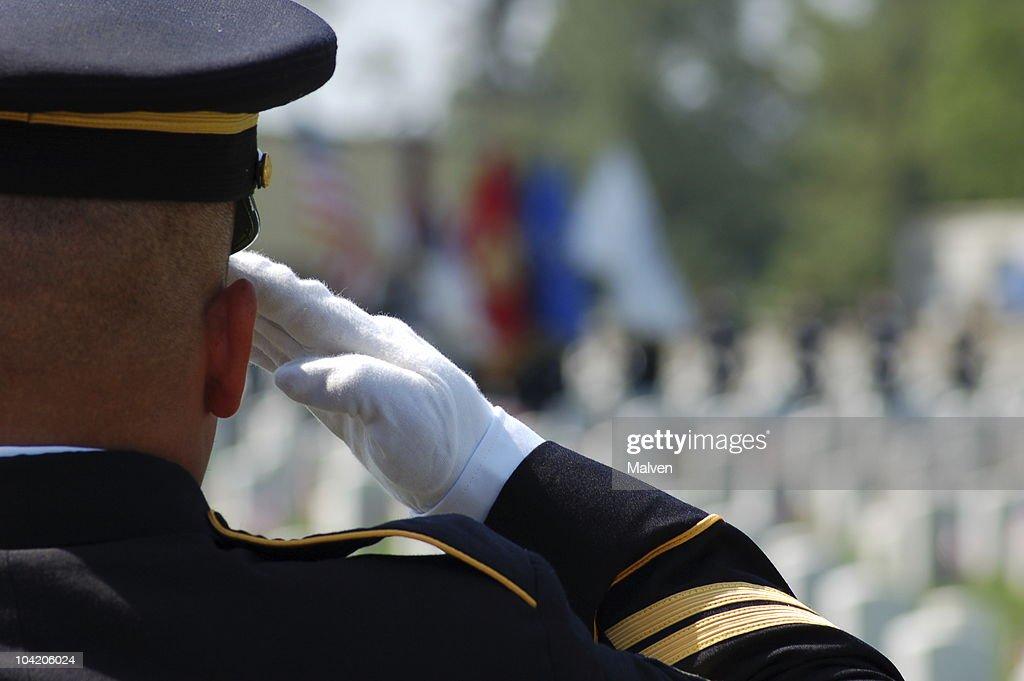 Soldier salutes fallen comrades : Stock Photo