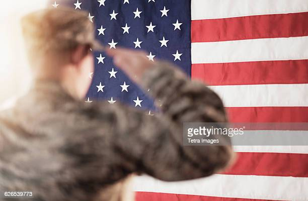 soldier saluting american flag - saluting stock pictures, royalty-free photos & images