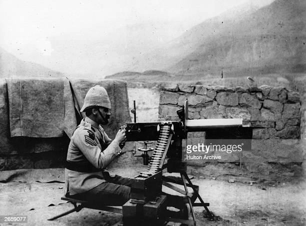 Soldier sets up a light Maxim gun at Chilas Fort on the North-West Frontier. Original Artwork: National Army Museum
