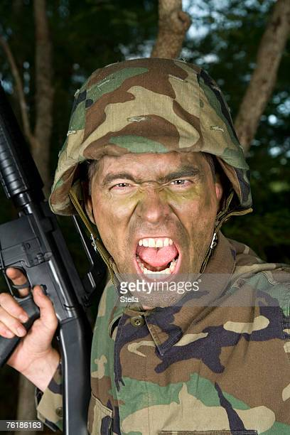 Soldier shouting