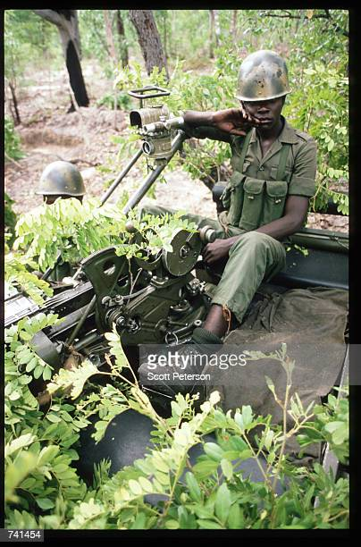 UNITA soldier sits with antitank weapons January 23 1990 near Jamba Angola The National Union for the Total Independence of Angola and the Marxist...