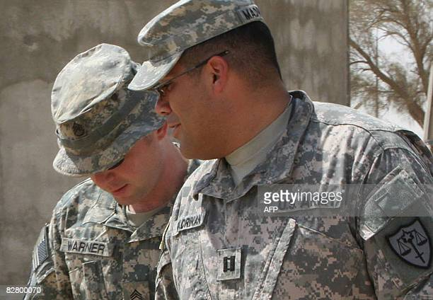 US soldier Staff Sergeant Hal Warner is seen following the first day of his two day court hearing at the Contingency Operating Base Speicher close to...