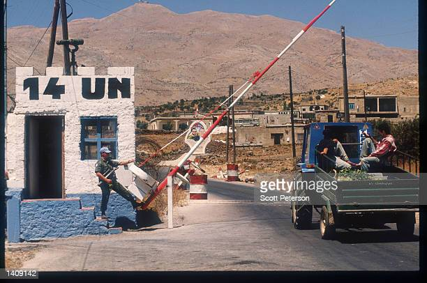 UN soldier stands at a checkpoint in Shouting Valley August 1996 in the Golan Heights The Golan Heights a region in Southwest Syria occupied by...