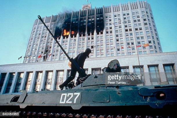 A soldier stands atop a tank at the Russian White House on October 4 1993 Opponents of President Boris Yeltsin led by ousted vice president Alexander...