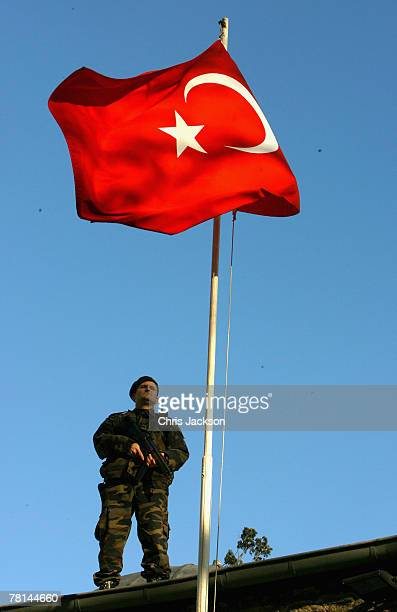 Soldier stands guard as Camilla, Duchess of Cornwall leaves Kariye Museum on day three of a four day tour of Turkey on November 28, 2007 in Istanbul,...