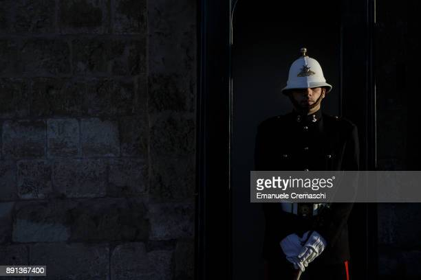 A soldier stands guard at the Palace of the Grand Master in St George's Square on December 7 2017 in Valletta Malta Valletta a fortified town that...