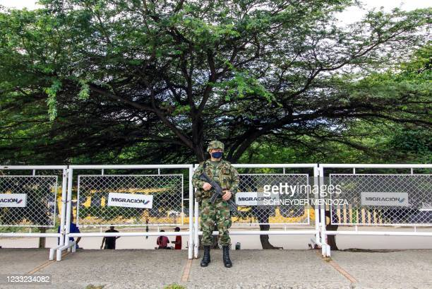 Soldier stands guard at the Simon Bolivar International Bridge into Cucuta, Colombia, after the country reopened its borders with Venezuela amid the...