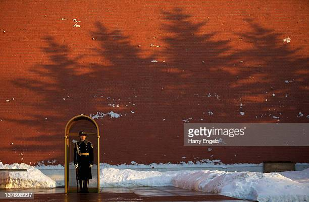 Soldier stands guard at the Tomb of the Unknown Soldier on January 25, 2012 in Moscow, Russia.