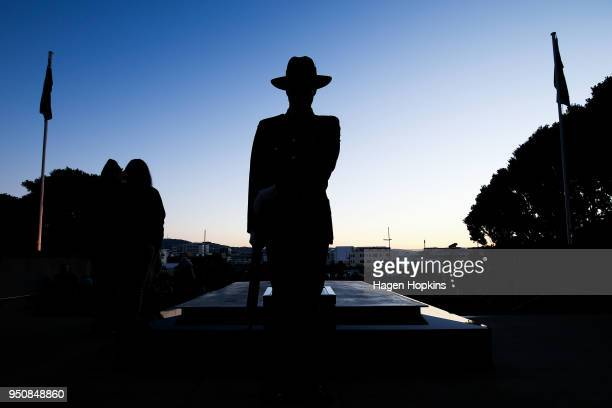 A soldier stands guard at Tomb of the Unknown Warrior during the Anzac Day Dawn Service at Pukeahu National War Memorial Park on April 25 2018 in...
