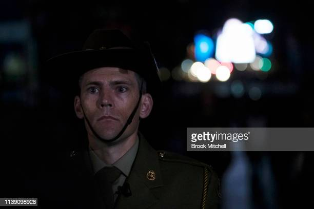 A soldier stands guard during the dawn service in Martin Place on April 25 2019 in Sydney Australia Australians commemorating 104 years since the...