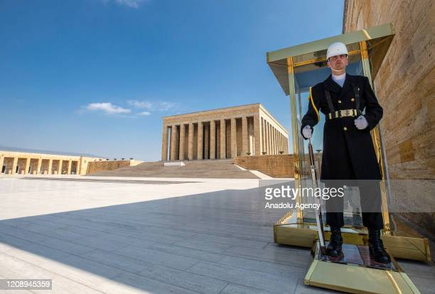 A soldier stands guard in Anitkabir the mausoleum of founder of the Republic of Turkey Mustafa Kemal Ataturk without visitors after authorities...