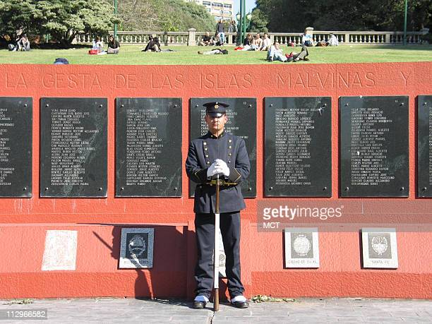 A soldier stands guard May 19 at a Buenos Aires Argentina monument dedicated to soldiers slain in the Falklands War Veterans are debating the 74day...