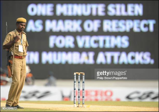 A soldier stands near the wicket during a minute's silence before the start of the 1st Test match between India and England at MA Chidambaram Stadium...