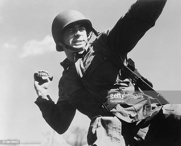 Soldier throwing a hand grenade c 1943