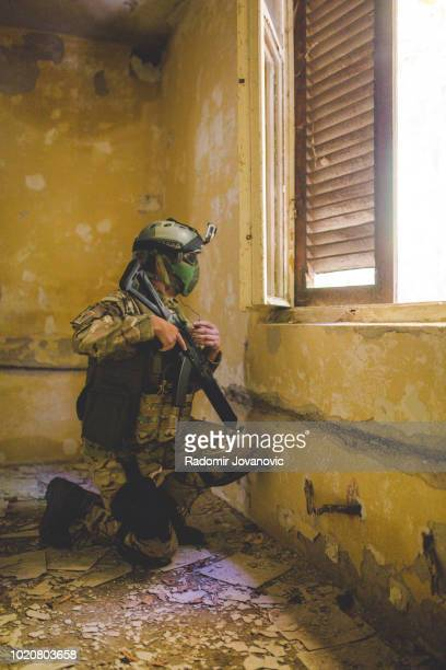 Soldier Under Cover of Darkness