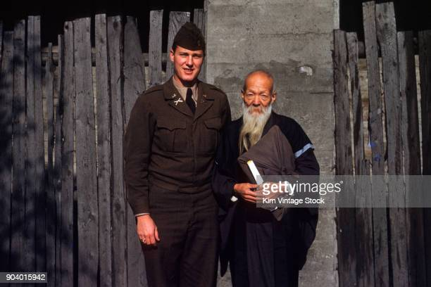 us soldier visits with monk korea