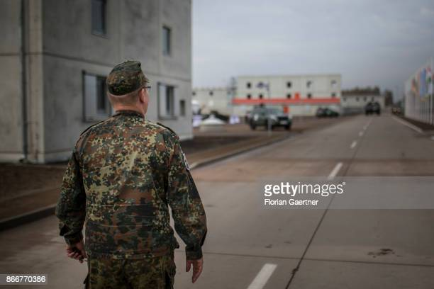 A soldier walks along a street at the urban agglomeration on October 26 2017 in Schnoeggersburg Germany The urban agglomeration called...