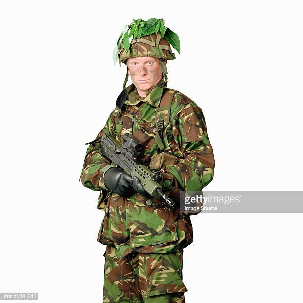 Soldier wearing camouflage