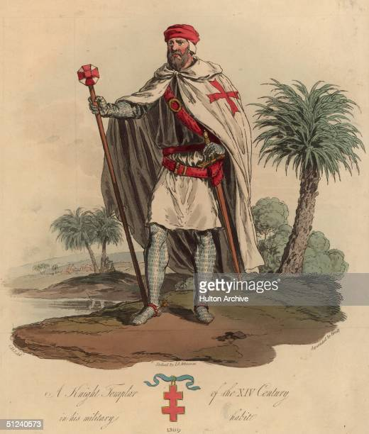 Soldier wearing the uniform of a Brother Knight in the order of the Knights Templar. The double barred Cross of Lorrain underneath the figure links...