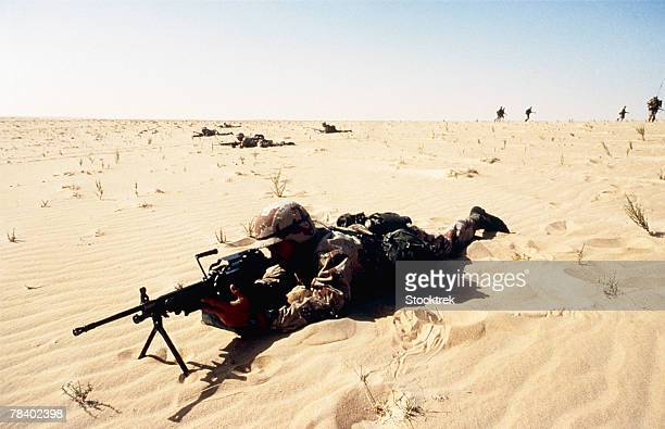 Soldier with automatic weapon