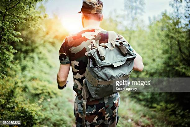 Soldier with backpack