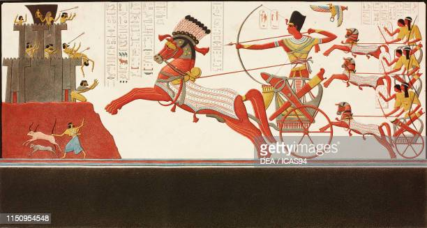 Soldier with bow and arrows on a chariot coloured basrelief Abu Simbel Nubia Egypt coloured engraving by Bigant and Allais from Antiquites de la...