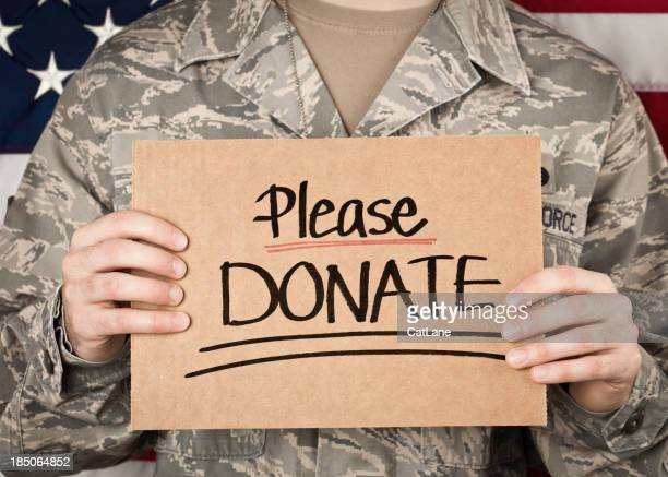 Soldier with Donate Sign